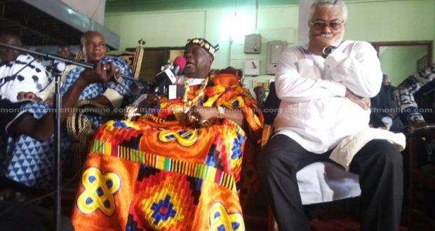 Torbui Sri of Anlo State with former president Jerry Rawlings (right) at the Apetorku Shrine